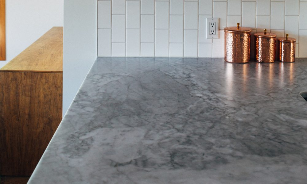 Grey kitchen counter